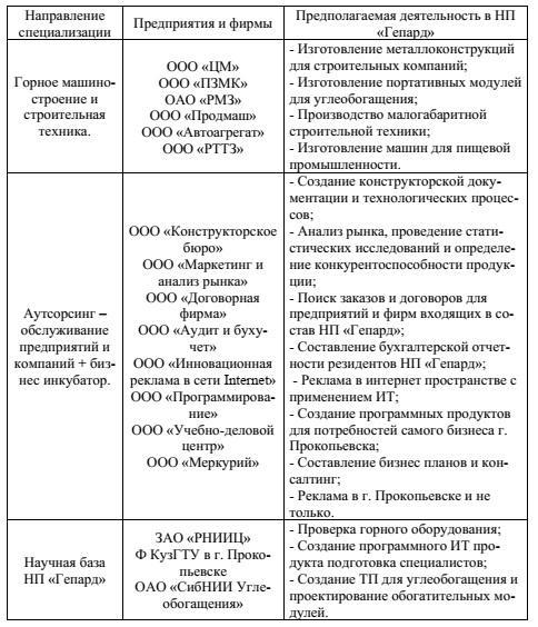 Таблица 1 - Специализация и виды деятельности НП «Гепард» в г. Прокопьевске