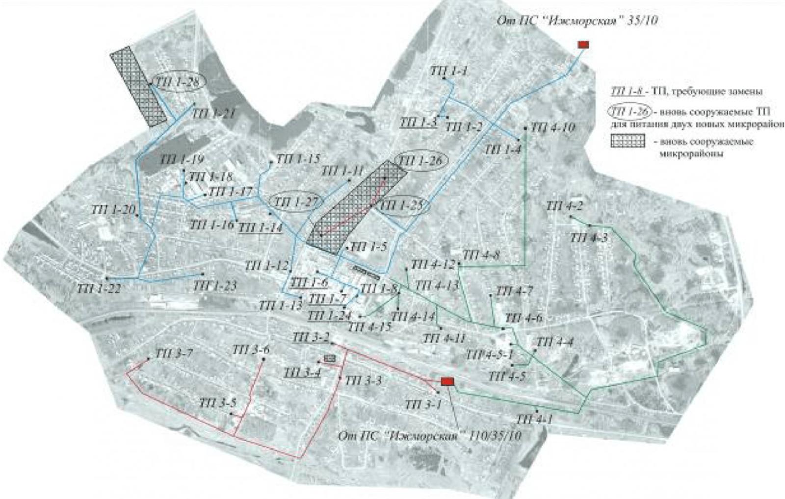 Рисунок 1 – План распределительной сети 10 кВ п.г.т. Ижморский