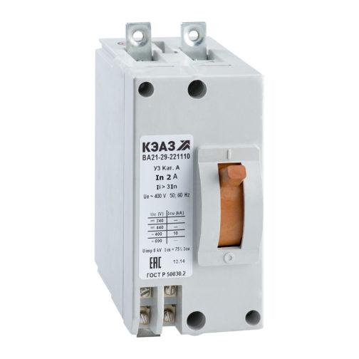 Выключатель автоматический ВА21-29В-221110-2А-12Iн-690AC-У3-КЭАЗ