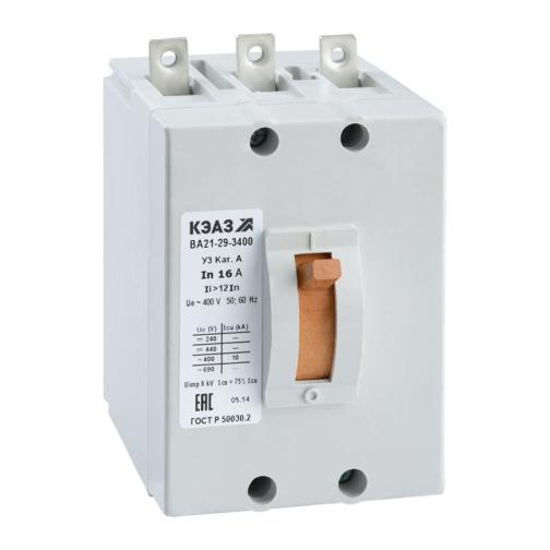 Выключатель автоматический ВА21-29-340010-1А-12Iн-400AC-З/П-У3-КЭАЗ