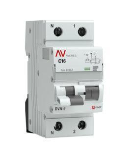 rcbo6-1pn-16C-30-a-av EKF Дифференциальный автомат DVA-6 1P+N 16А (C)  30мА (A) 6кА EKF AVERES