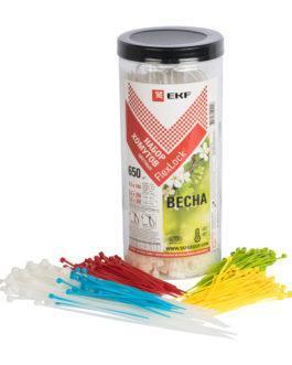 plc-fl-set-sp EKF (ЕКФ) Набор хомутов цветных «Весна» (650 шт.): 2,5х100, 3,6х200, 3,6х280 FlexLock PROxima