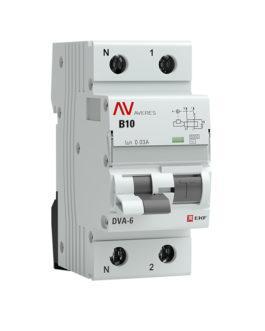 rcbo6-1pn-10B-30-ac-av EKF Дифференциальный автомат DVA-6 1P+N 10А (B)  30мА (AC) 6кА EKF AVERES