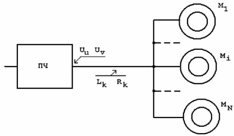 Управление электромагнитными моментами параллельно работающих асинхронных электродвигателей от одного инвертора 1