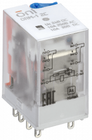 ORM-1-2C-DC24V-L-B ONI Реле интерфейсное ORM-1 2C 24В DC со светодиодом и тестовой кнопкой ONI