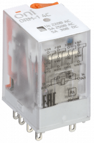 ORM-1-4C-AC220V-L-B ONI Реле интерфейсное ORM-1 4C 220В AC со светодиодом и тестовой кнопкой ONI
