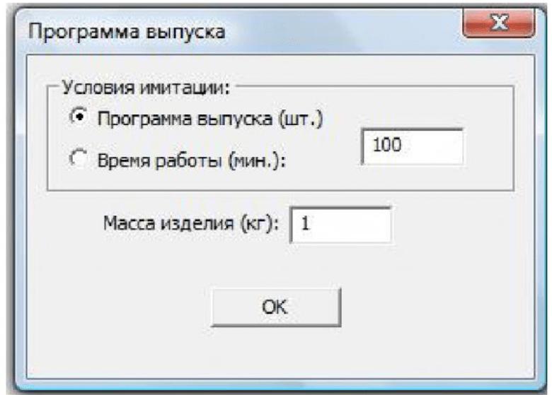 Рисунок 3 – Стартовое окно комплекса программ с заданием программы выпуска