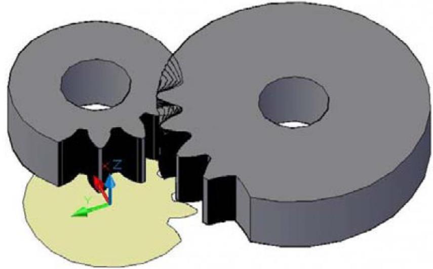Рисунок 10 – Компьютерное твердотельное моделирование процесса формообразования детали долбяком