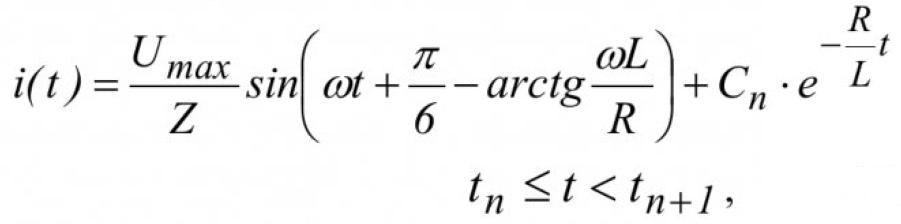 Математическое моделирование тиристорного преобразователя с учетом нелинейности тиристора 9
