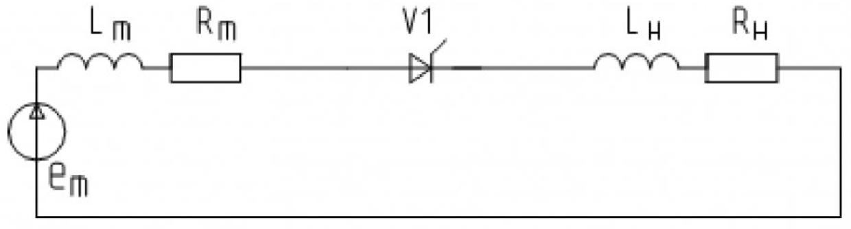 Рисунок 2 – Эквивалентная расчетная схема однофазного однополупериодного выпрямителя