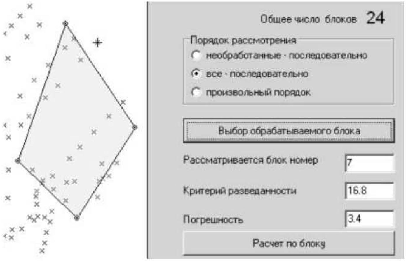 Рисунок 4 – Фрагмент панели подрежима «Коэффициенты перехода» в режиме выбора относящихся к блоку замеров в горных выработках