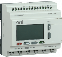 PLR-S-CPU-1206R-AC-BE ONI Логическое реле PLR-S. CPU1206(R) 220В AC с экраном ONI