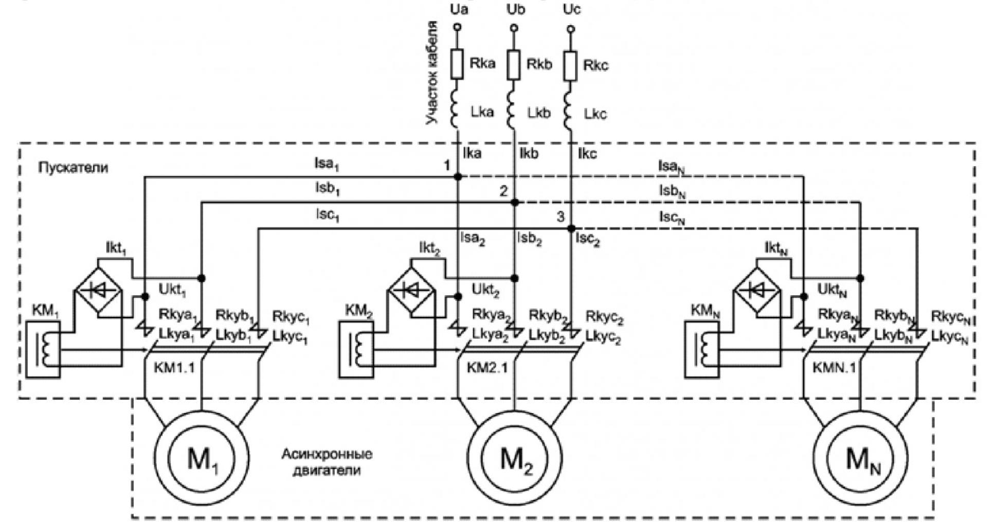 Модель типового модуля системы электроснабжения с коммутационной аппаратурой 1